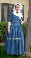 Custom Made Late 18th Century Blue Linen Victorian Round Gown/Theater dress/Event Dress