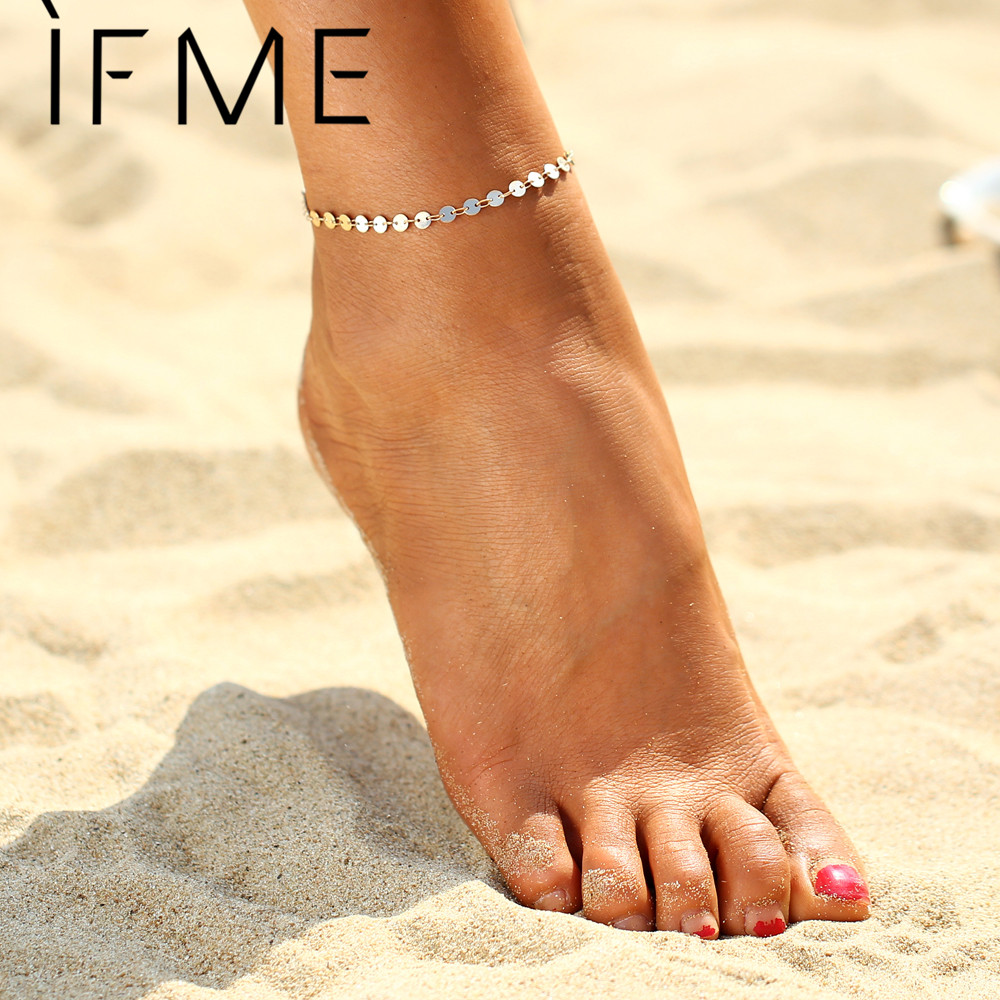 IF ME Punk Style Coin Anklets Gold Color Beach Summer Vacation Ankle Bracelet Sandal Sexy Leg Chain Female Boho Crystal Anklets