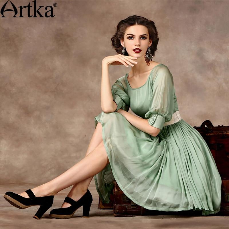 Artka Women's 2018 Summer Emerald Series High-end Dress Vintage Lantern Sleeve Empire Waist Wide Hem Dress With Sashes LA14350X embroidered lantern sleeve wide hem top