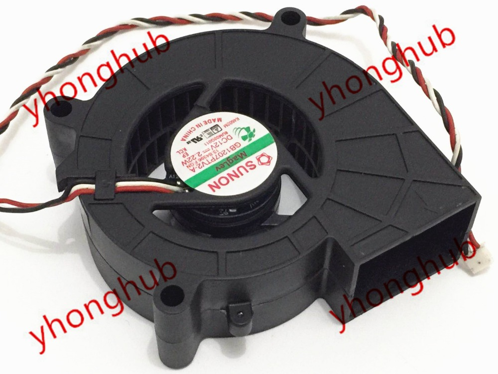 SUNON GB1207PTV2-A 13.B4396.F.GN DC 12V 2.2W 3-wire 70x70x25mm Server Square Fan free shipping for sanyo 109r0812h4d26 dc 12v 0 13a 3 wire 80mm 80x80x25mm server square fan