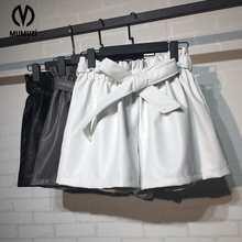Elegant black faux leather shorts Women sexy autumn bow high waist shorts Casual streetwear irregular shorts bottom 2017