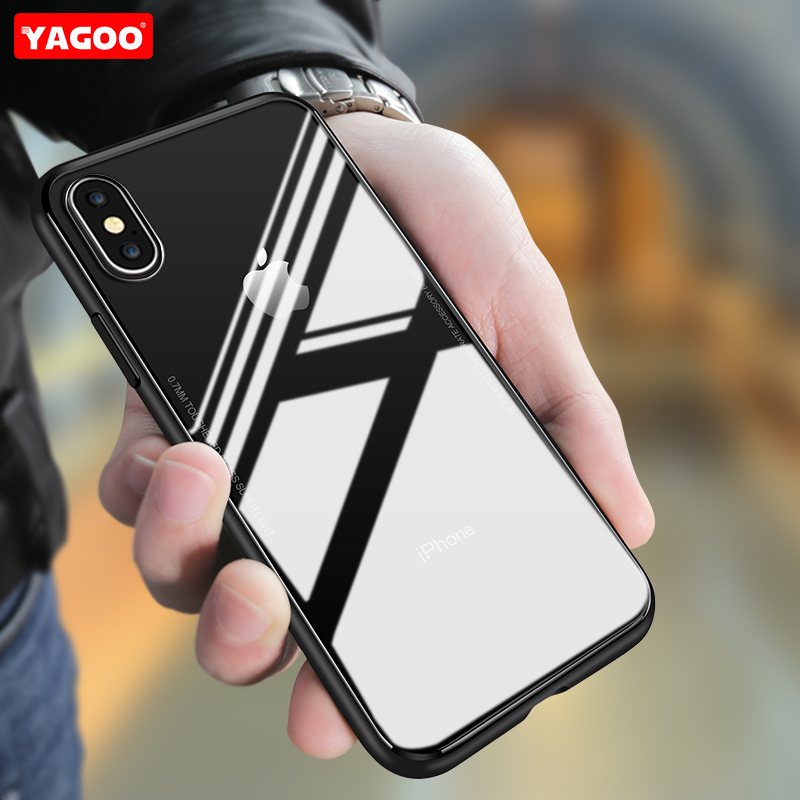For iphone X case luxury silicone TPU soft back cover ultra thin shell Tempered Glass case for iphone X 10 full cover case Yagoo