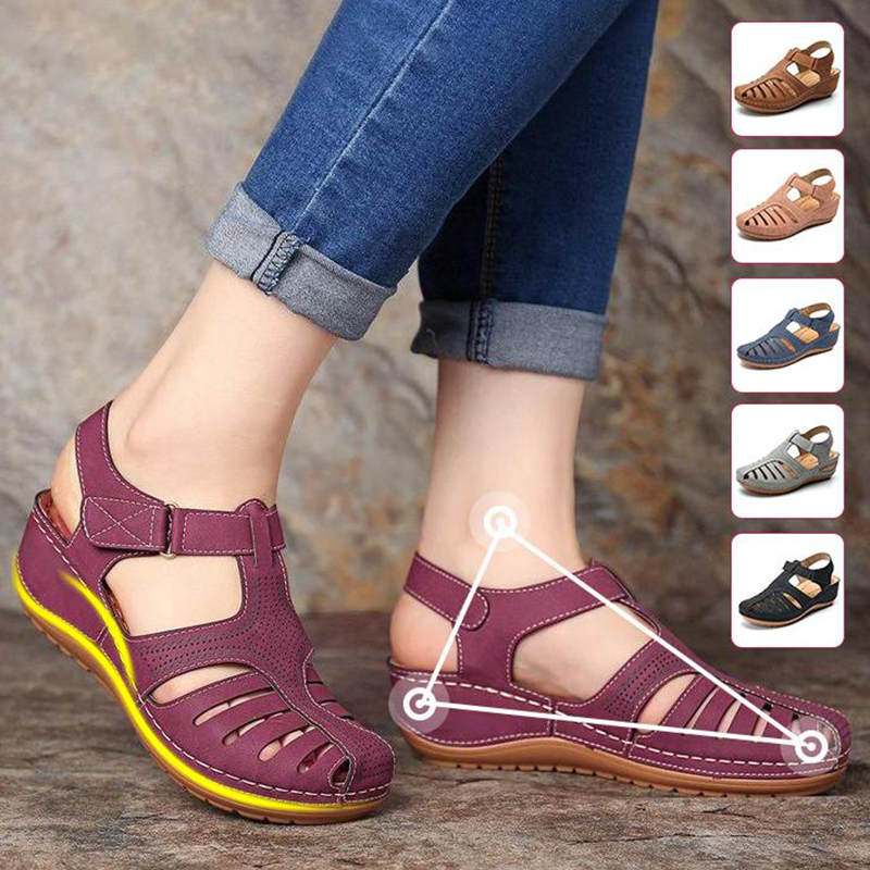2019 Women Comfy Hook Loop Wedges Walking Sandals Non-slip Lightweight Round Head Wedge Comfortable Sandals Drop Shipping Cusion