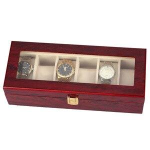 Image 4 - 6 Slots Wood Watch Display Case Box Glass Top Jewelry Storage Organizer Gift Men