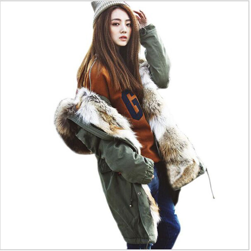 Korean Fashion Women's Army Green Big Raccoon Fur Collar Hooded Long Coat Parkas Outwear Real Rabbit Fur Lining Winter Jackets faux rabbit fur brown mr short jacket sleeveless with big raccoon collar fall coat