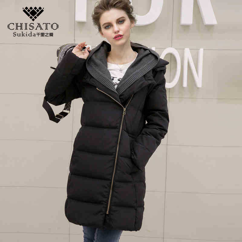 2015 New Hot Winter Thicken Warm Woman Down Overcoat Parkas Outerwear Luxurious Knit Splice Slim Mid Long Plus Size XL Hooded