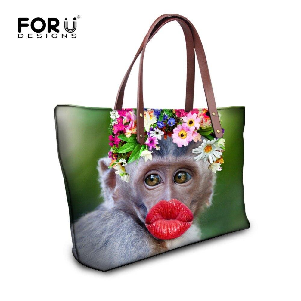 FORUDESIGNS Lujo Mujer Bolsos Divertidos Labios Rojos Atractivos Del Mono de Las