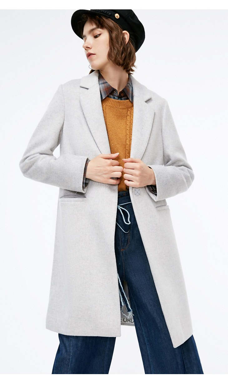 ONLY womens' winter new simple long woolen coat Hem letter patch Invisible button design 11834S517 19