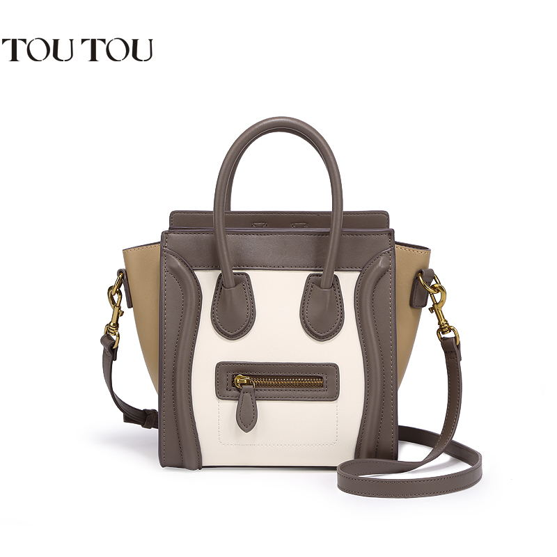 TOUTOU famous brand smiling face Handbag fashion classic color bump hand the bill of lading shoulder slope package Free shipping toutou brand handbag new car suture fashion personality bag wild shoulder diagonal package quality assurance free shipping