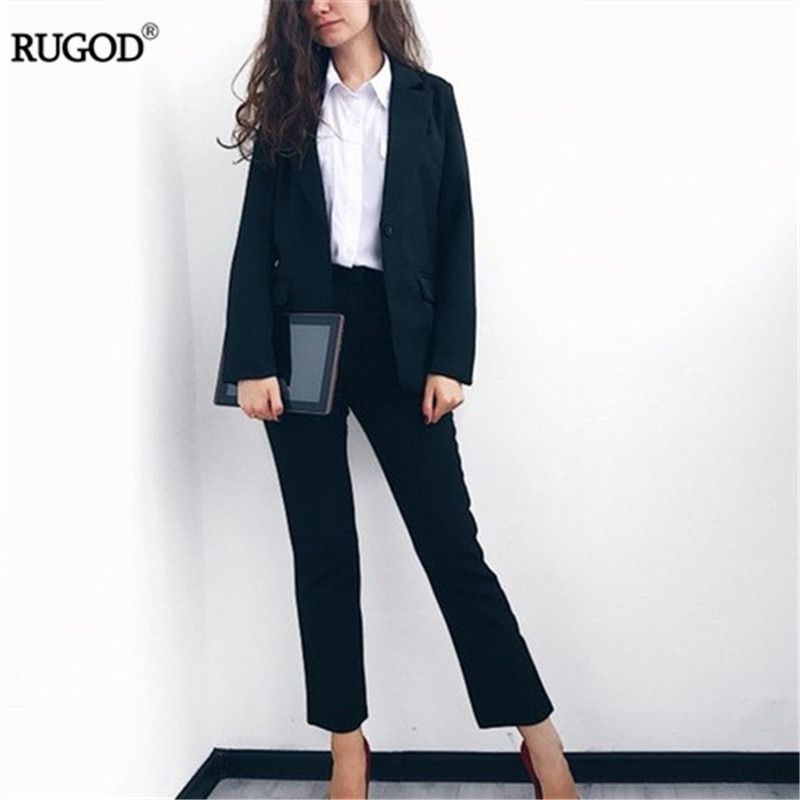 Rugod אלגנטי חם 2018 משרד ליידי עסקי לנשים 2 שני סטי חתיכה נקבה שרוול ארוך בלייזר ומכנסיים חליפה בתוספת גודל