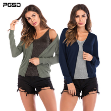 PGSD Simple Fashion Pure color Women Clothes Long Sleeve Sweaters Thin Knitted Single breasted V-Neck Leisure Cardigan female