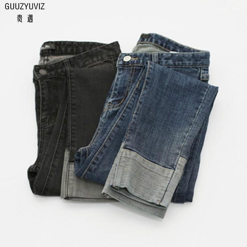 GUUZYUVIZ Loose 4XL Autumn Winter Jeans Woman Vintage Casual Plus Size High Waist Cotton Elasticity Cuffs Denim Harem Pants