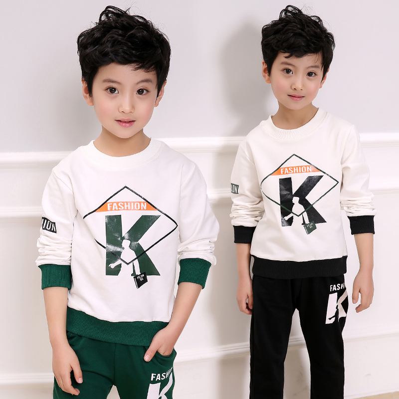 Fashion Children Tracksuit for Boys Letter Coat Long Pants 2Pcs Boys Sport Suits Spring Autumn Casual Kids Teens Toddler Clothes 4 15 years boys sport suits 2017 autumn new camouflage style children s tracksuit for boys coat pants 2pcs spring kids clothes