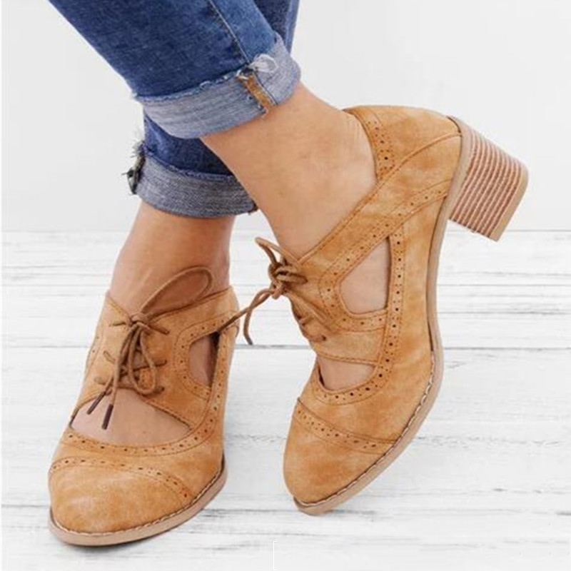 sapato feminino 2019 Spring PU Leather Women Vintage Lace up Sandals Ladies Roman High Shoes Woman