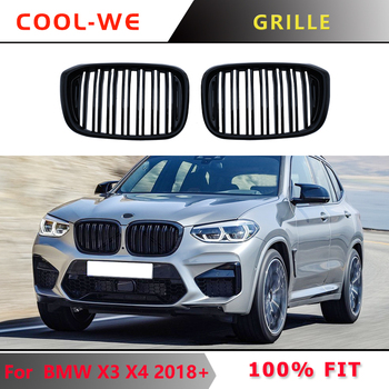 2-slat ABS Gloss Black Front Racing Grill Grille for BMW New X3 G01 X4 G02 G08 2017 2018 2019