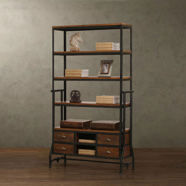 American Retro Loft Style Wood Bookcases Do The Old Wrought Iron Drawer Bookcase Shelves