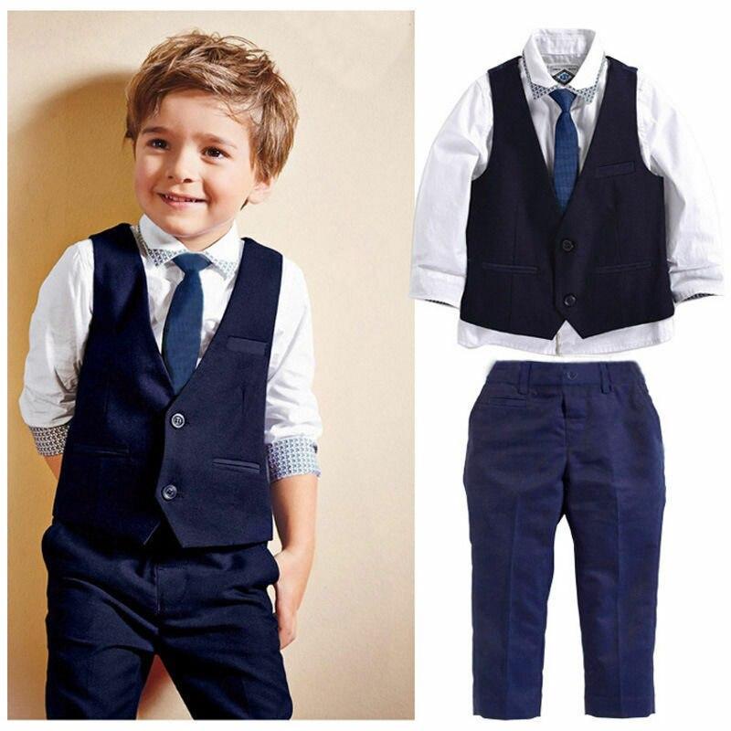 Fashion children baby boy suit gentleman long sleeve shirt + tie vest + trousers 3Pcs formal children's clothes
