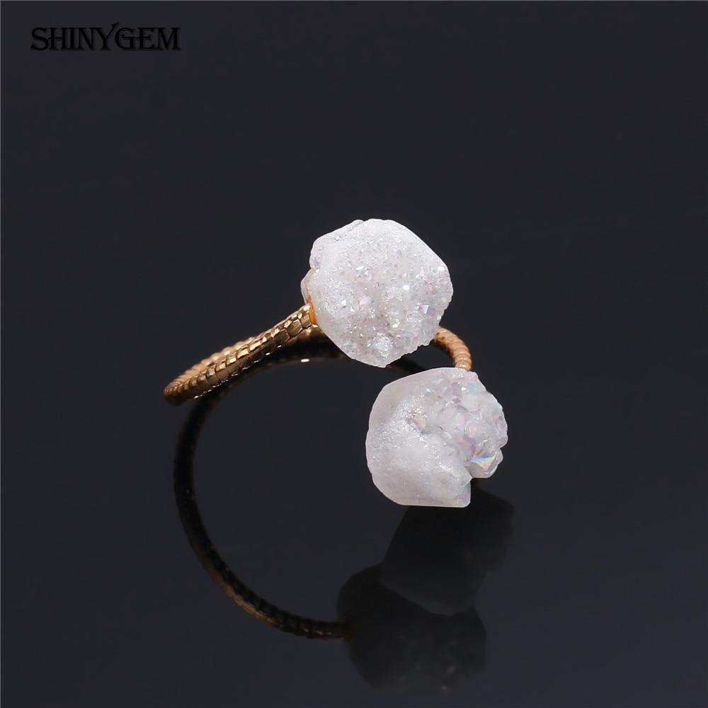 ShinyGem არარეგულარული Druzy Opal Rings - მოდის სამკაულები - ფოტო 6