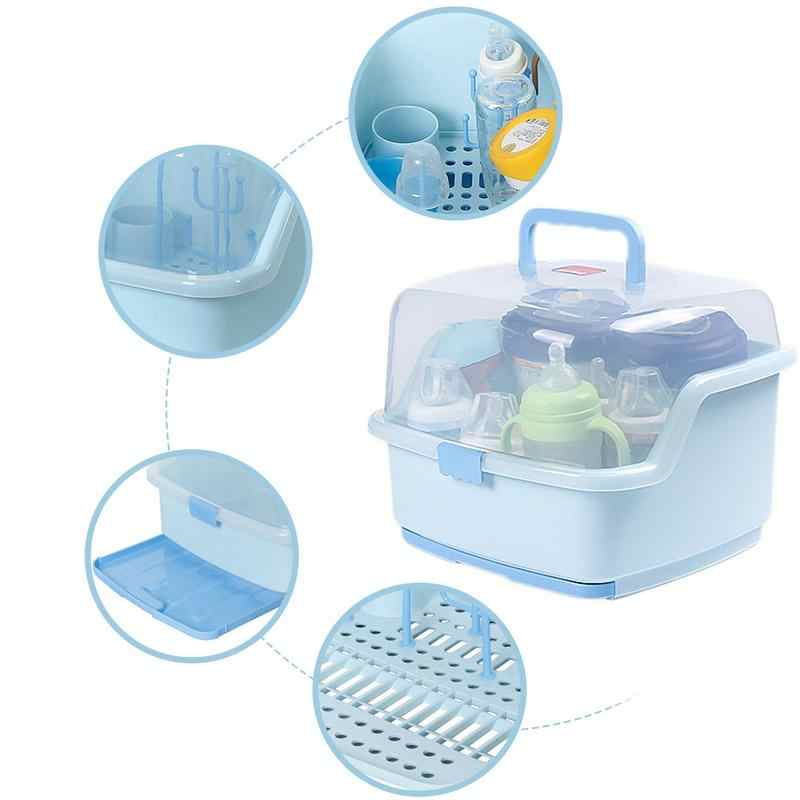 Baby Portable Bottle Drying Racks with Anti-dust Cover Large Nursing Bottle Storage Box Baby Dinnerware Organizer
