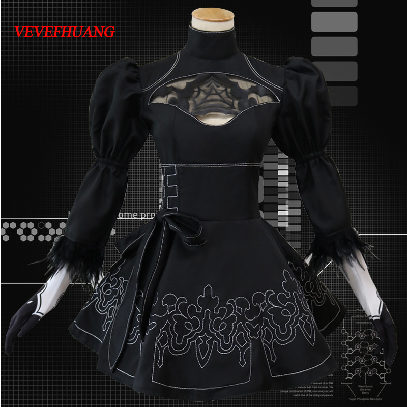 VEVEFHUANG Nier Automata Cosplay Costume Yorha <font><b>2B</b></font> <font><b>sexy</b></font> Outfit Games Suit Women Role Play Costumes Girls Halloween Party image