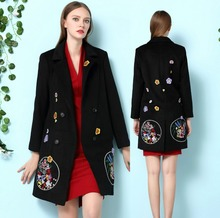 High Quality 2016 autumn and winter women's cashmere coat loose overcoat embroidered long wool coat Overcoat Plus Size