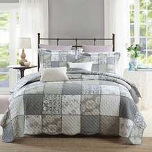 Patchwork Bedspread Quilt Set 3pc bedding American Wash cotton Quilts Aircondition Bed Cover King Size Coverlet Blanket Gray