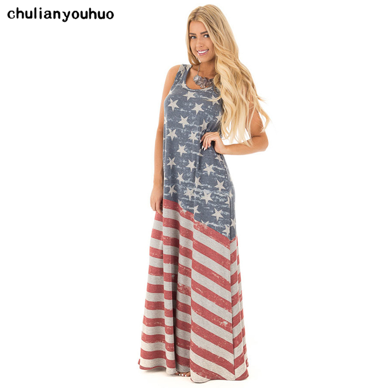 Chulianyouhuo 4th of July American Flag Distressed Cami Long Swing Maxi Dress Women Juniors American flag printed dress Vestidos