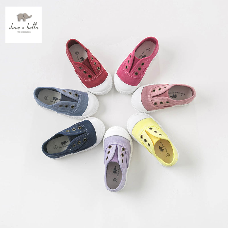 DB4688 Dave & Bella baby solid canvas shoes red grey navy casual shoes 7 colors