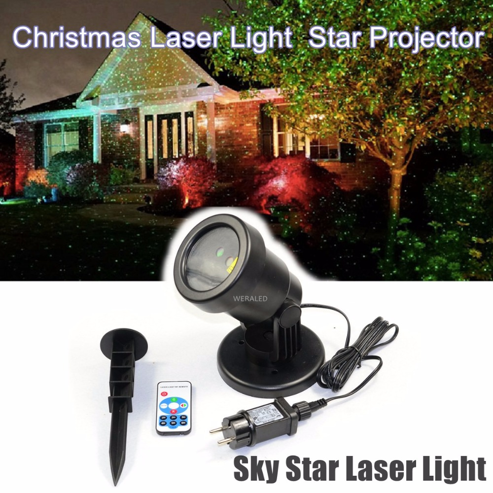 WERALED Outdoor Waterproof IP65 Garden Decoration Christmas Sky Star Laser Spotlight Light Projector Showers With RF Remote christmas laser lights outdoor projector motion 12 xmas patterns waterproof ip65 rf remote for garden landscape decoration