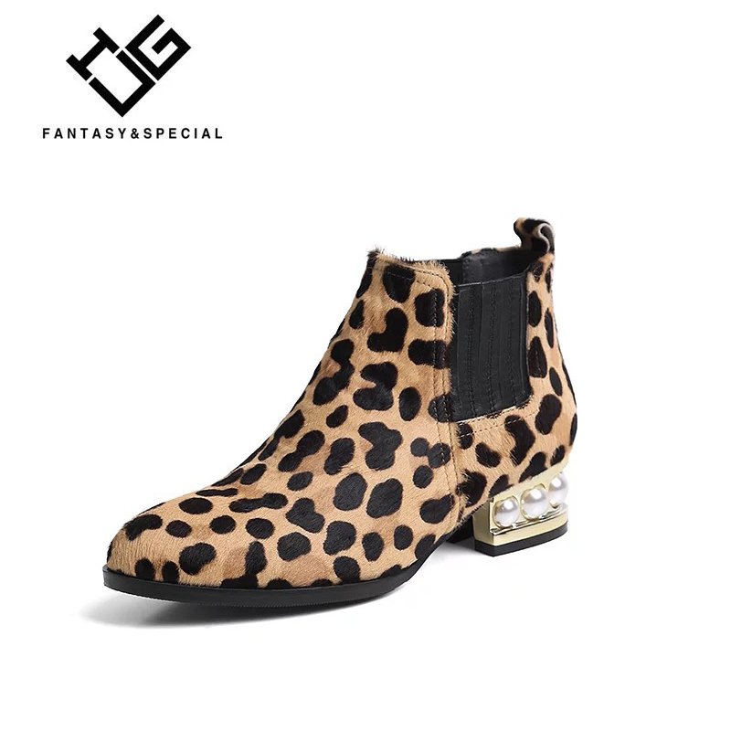 IGU 2018 Women Boots Horse Hair Leopard Print Pearl Winter Boots Women Ankle Boots For Females Thick Heel Slip On Ladies Shoes fashion shoes women boots in ankle boots flock square heel non slip leopard print martin boots for autumn