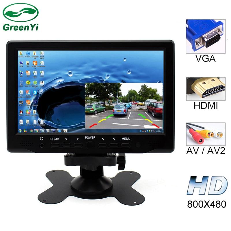 imágenes para Nueva 7 Pulgadas 800x480 TFT Color LCD de Coches Aparcamiento Monitor de Vídeo con Entrada HDMI VGA AV Monitor de Seguridad CCTV + Control Remoto