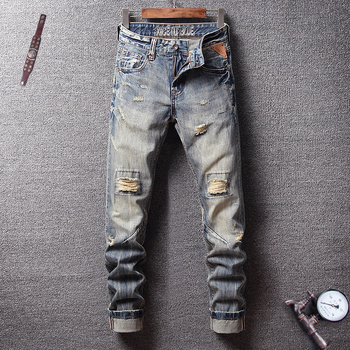 Italian Vintage Style Fashion Men Jeans Retro Wash Knee Frayed Hole Ripped Jeans Men Hip Hop Pants Streetwear Biker Jeans Homme knee holes frayed zipper fly narrow feet ripped jeans