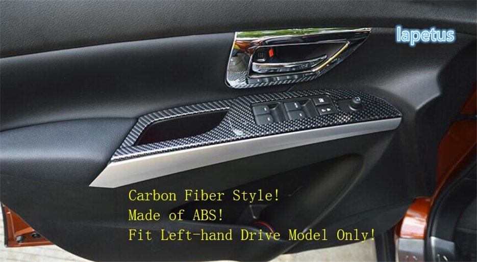 Lapetus Inner Door Armrest Window Lift Button Decoration Frame Cover Trim Carbon Fiber ABS For Suzuki