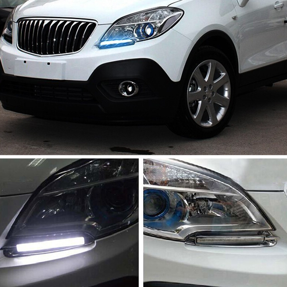 Car LED Day Light DRL Driving Daytime Running Light White Yellow Blue Turn Signal For Buick Encore 2012-2016 Free Shipping D35 novsight led drl driving daytime running lights turn signal lamp white yellow blue for renault koleos 11 15 free shipping