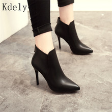 Fashion Patent leather PU Pointed Toe High Heel Boots Shoes Woman Zipper