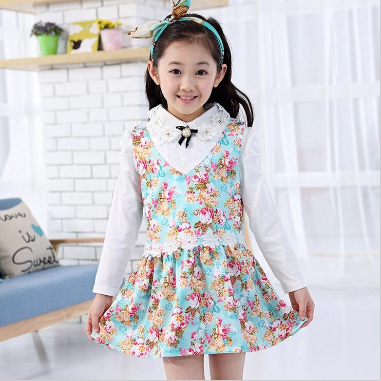 4c81e9fd Kids 2015 new girls dress 3 10 year old children long sleeved floral  princess dress Cute dress + long sleeved shirt-in Dresses from Mother &  Kids on ...
