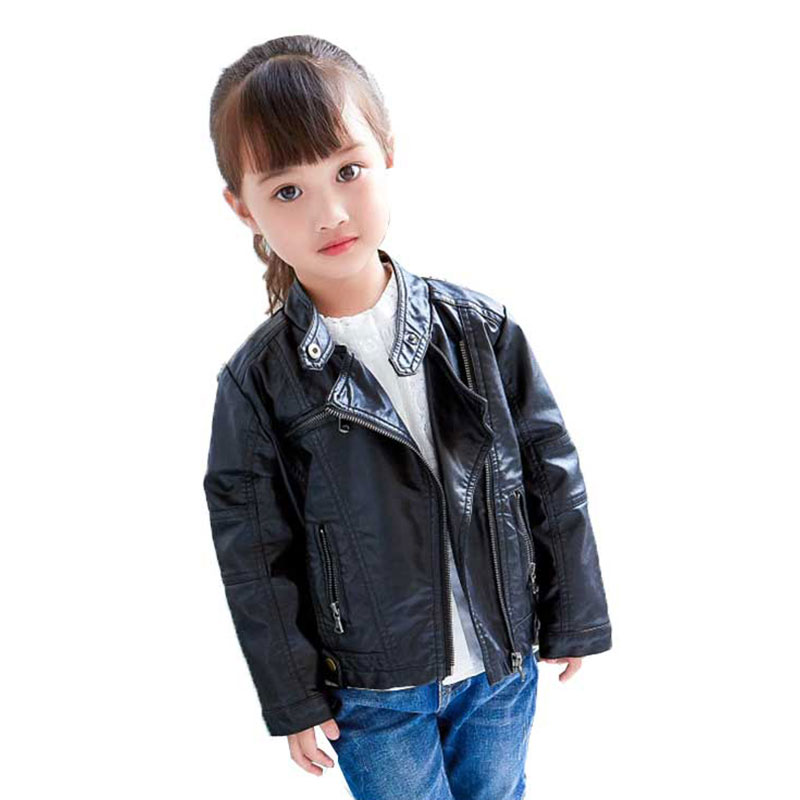 Boys Leather Jacket Stand Collar Children Pu Leather Coat Spring