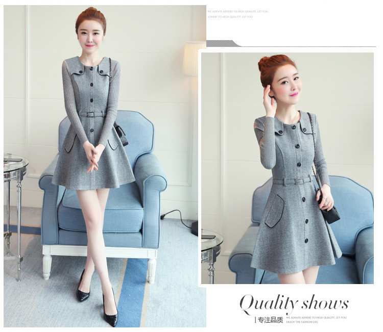 winter new round collar single-breasted cloth dress belt buttons A word women dresses Korean fashion outfit lady vogue vestido 29
