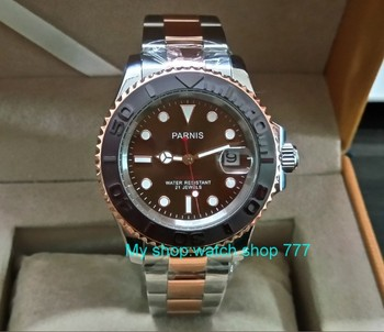 41MM PARNIS Coffee color dial 21 jewels Automatic Self-Wind movement Ceramic bezel Sapphire Crystal luminous men's watch PA24-8