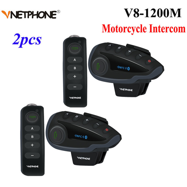 2 pièces Vnetphone V8 Bluetooth interphone NFC 5 coureurs moto guidon télécommande communicateur casque casque