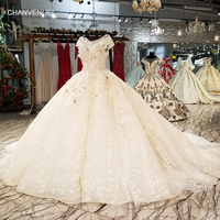LS0065 original sexy champagne wedding dress o neck cap sleeve lace up v back color flowers latest wedding dress with long train