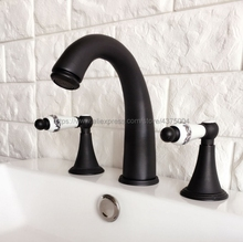 Basin Faucet Oil Rubbed Bronze 3 Hole Bathroom Sink Faucet Deck Mounted Cold Hot Vintage Sink Faucet Mixer Tap Nhg059 все цены