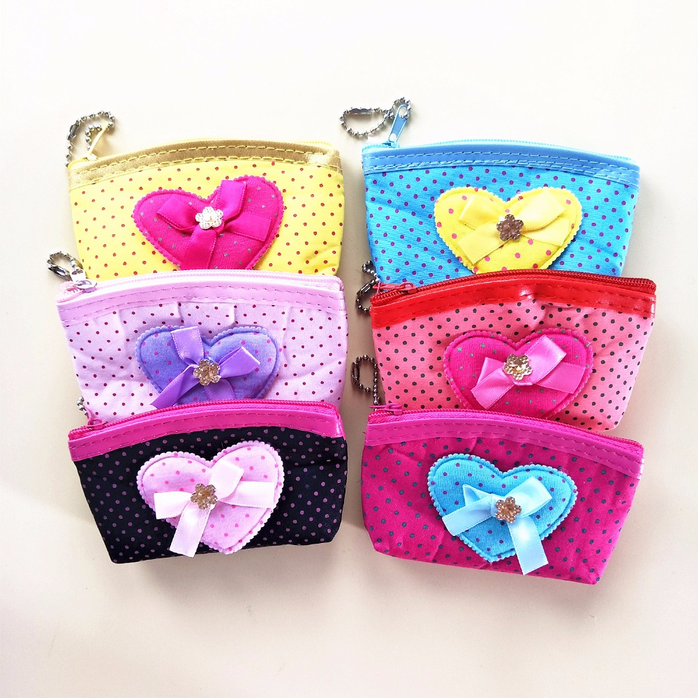M168 Creative Cartoon Cute Small Bowknot Love Dot Dot Line Data Line Coin Purse Card Bag Girl Women Student Gift Wholesale