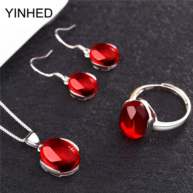 YINHED Luxury Natural Red Green Corundum Bridal Jewelry Sets 925 Sterling Silver Wedding Ring Necklace Earrings Sets ZS042