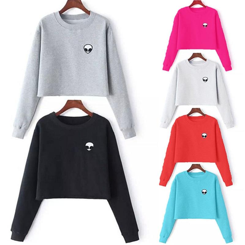 Fashion Print Short Hoodies 2018 Autumn Women Sweatshirts Casual O-Neck Cropped Pullovers Female Hoodies Coats Hoody Jacket