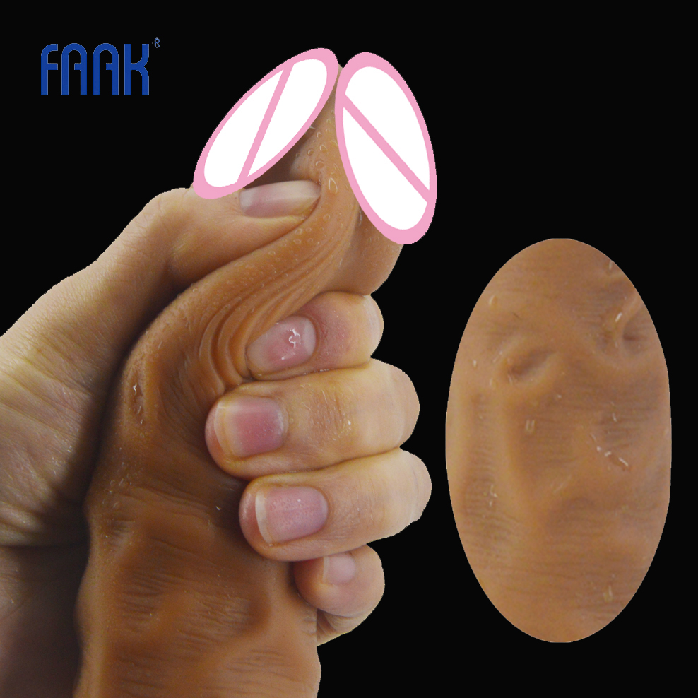 FAAK long realistic dildo suction double layer silicone skin touch fake penis man dick sex toys for women vagina massage flirt 15 35 double dildo long big realistic penis double penetration sex toy for women sex toys for lesbian couples