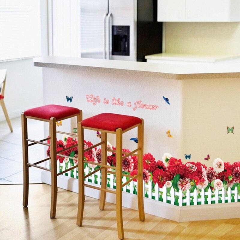 Red Bedroom Curtains Bedroom Corner Cabinet Designs L Shaped Bedroom Cupboards Bedroom Athletics Slipper Socks: Bright Red Daisy Flower Wall Border Sticker Home Store