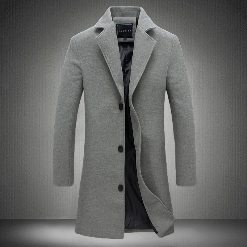 2019 Winter New Fashion Men Solid Color Single Breasted   Trench   Coat / Men Casual Slim Long Woolen Cloth Coat Large Size 5XL