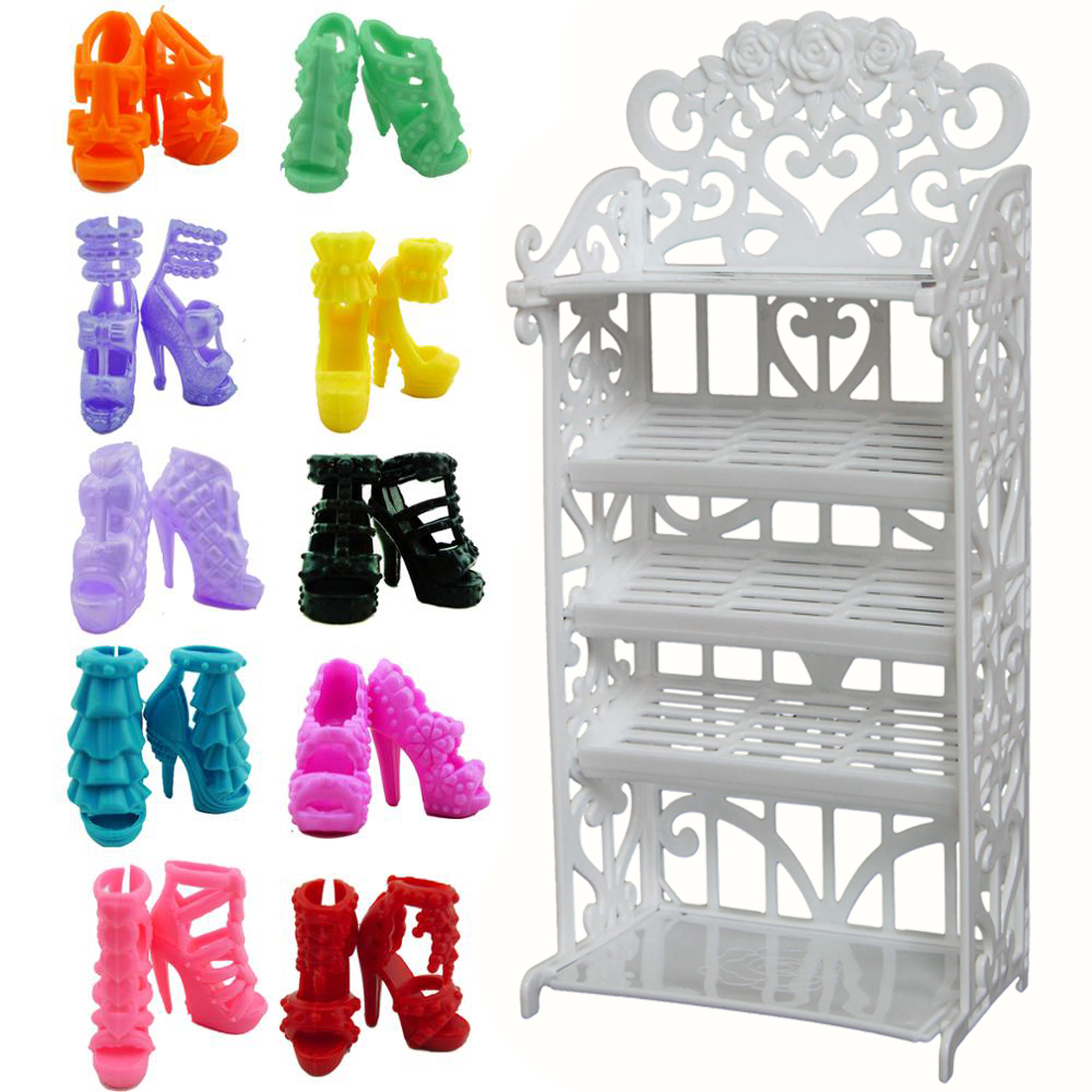 Mix Doll Accessories Option Shoes / Shoe Cabinet White Rack Storage Sofa Dresses Dollhouse Furniture For Barbie Doll(China)