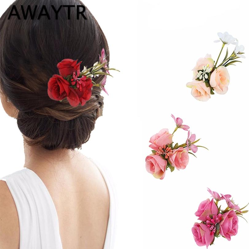 AWAYTR Women Wedding Hair Accessories Flower Hairpins For Girls Sweet Floral Hair Clips Women Brooch Party Ball Headwear
